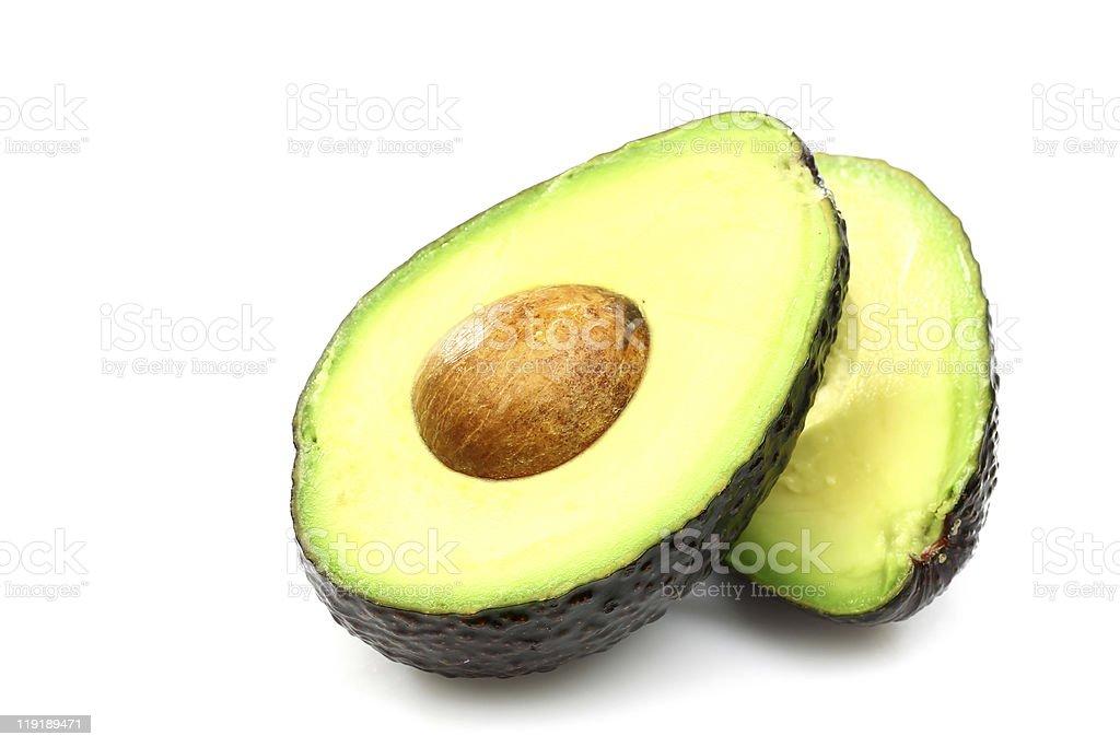 Two avocado halves royalty-free stock photo