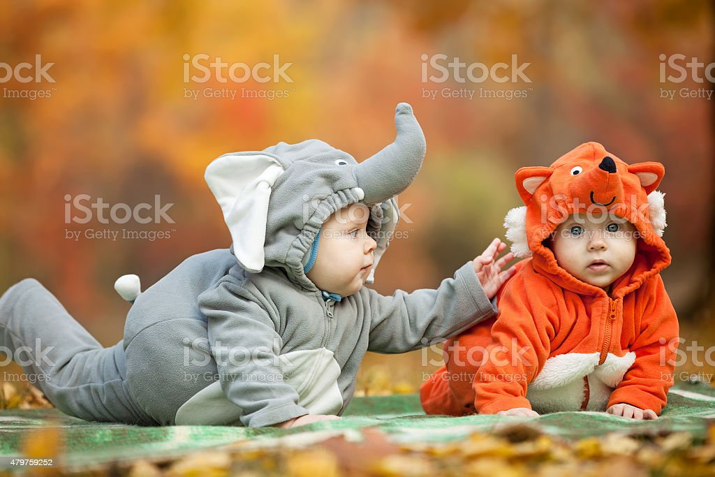 Two baby boys dressed in animal costumes outdoors stock photo