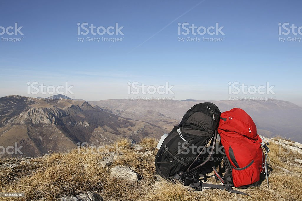 Two Backpacks at the Top of Mountain royalty-free stock photo