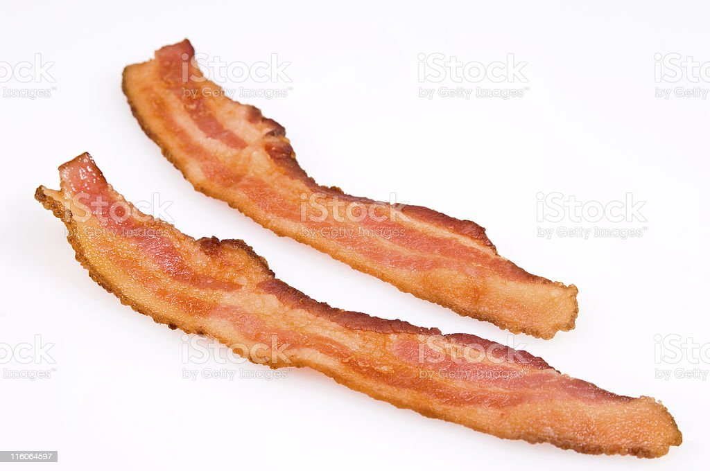 Two Bacon strips royalty-free stock photo