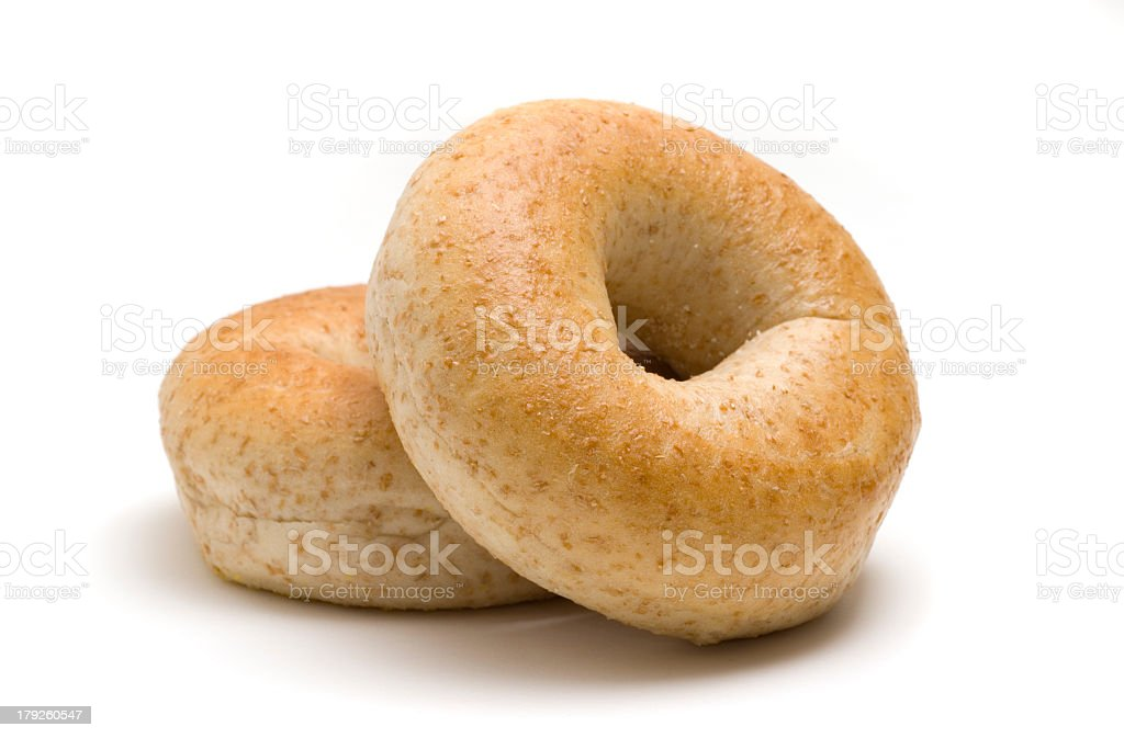 Two bagels on a white background stock photo