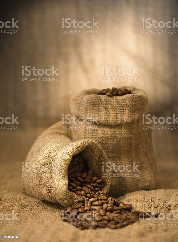 Two bags with the coffee grains royalty-free stock photo
