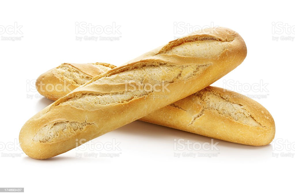 Two Baguettes with Clipping Path royalty-free stock photo