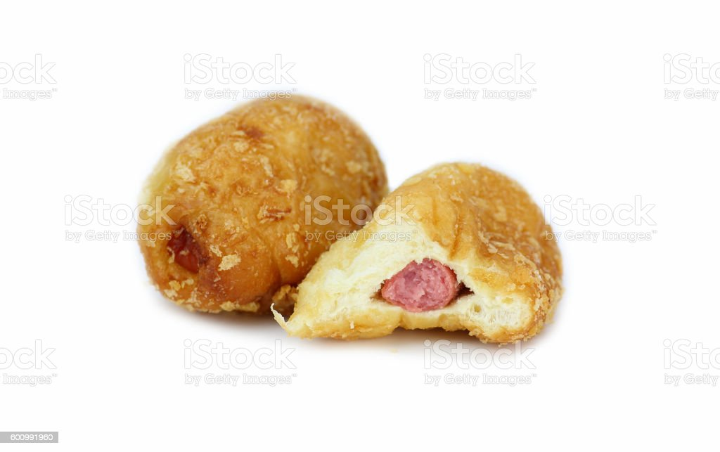 two baked bun with sausage inside isolated on white background stock photo