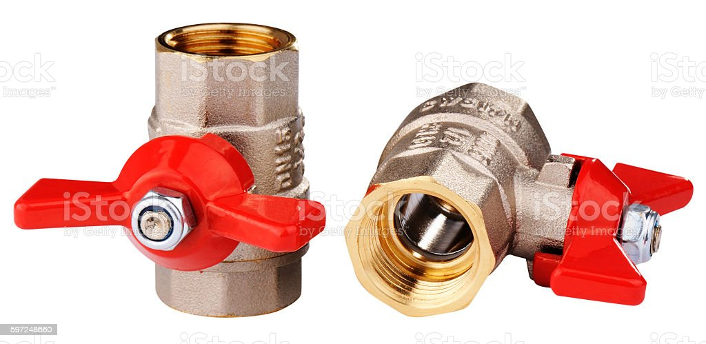 Two ball valves isolated stock photo