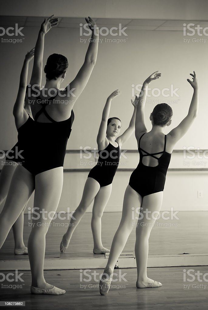 Two ballet dancers in sync stock photo
