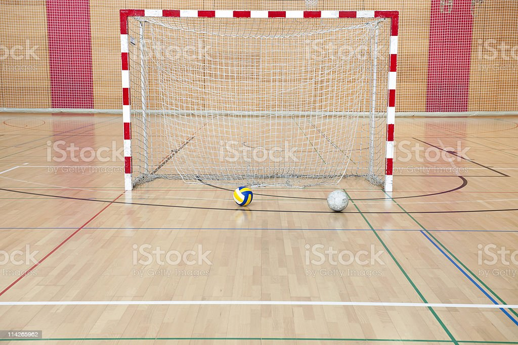Two Balls and Soccer Goal royalty-free stock photo