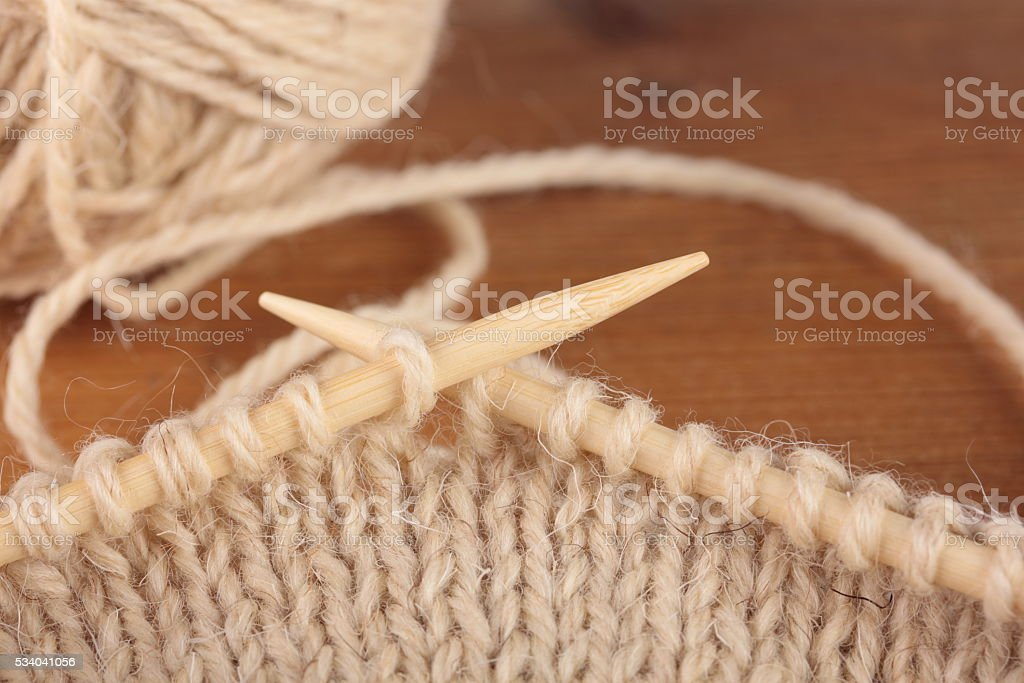 two bamboo knitting needles stock photo