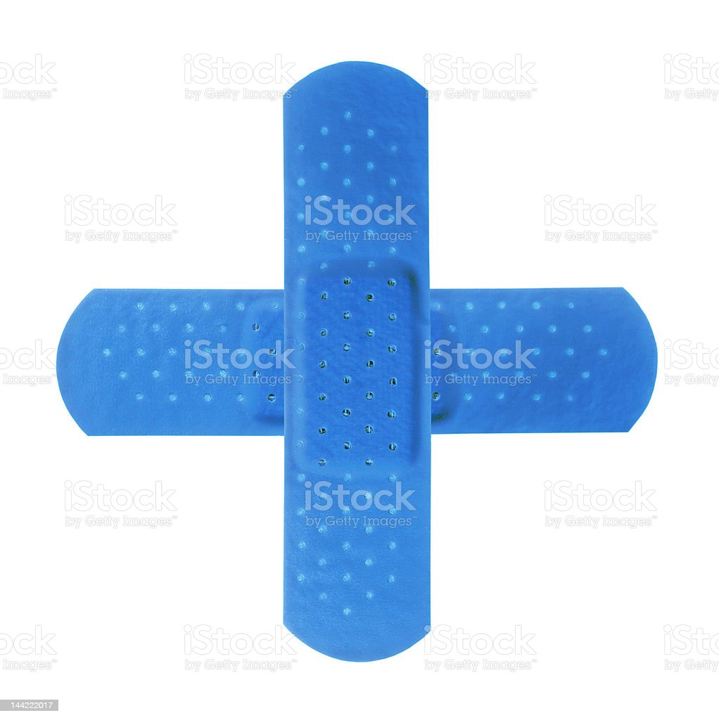 Two bandages making blue cross royalty-free stock photo