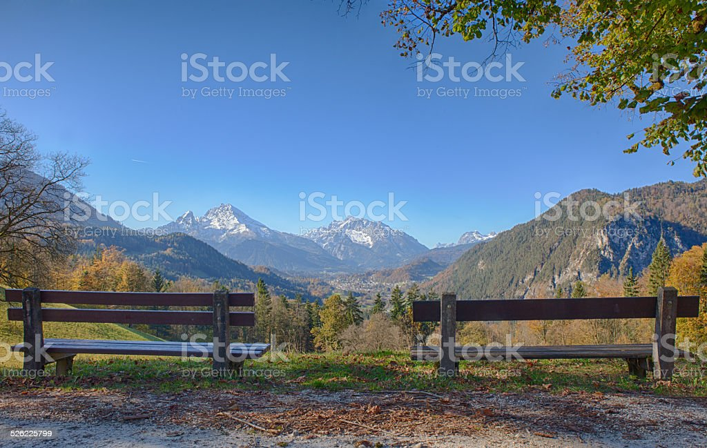 Two banks on a Watzmann viewpoint stock photo