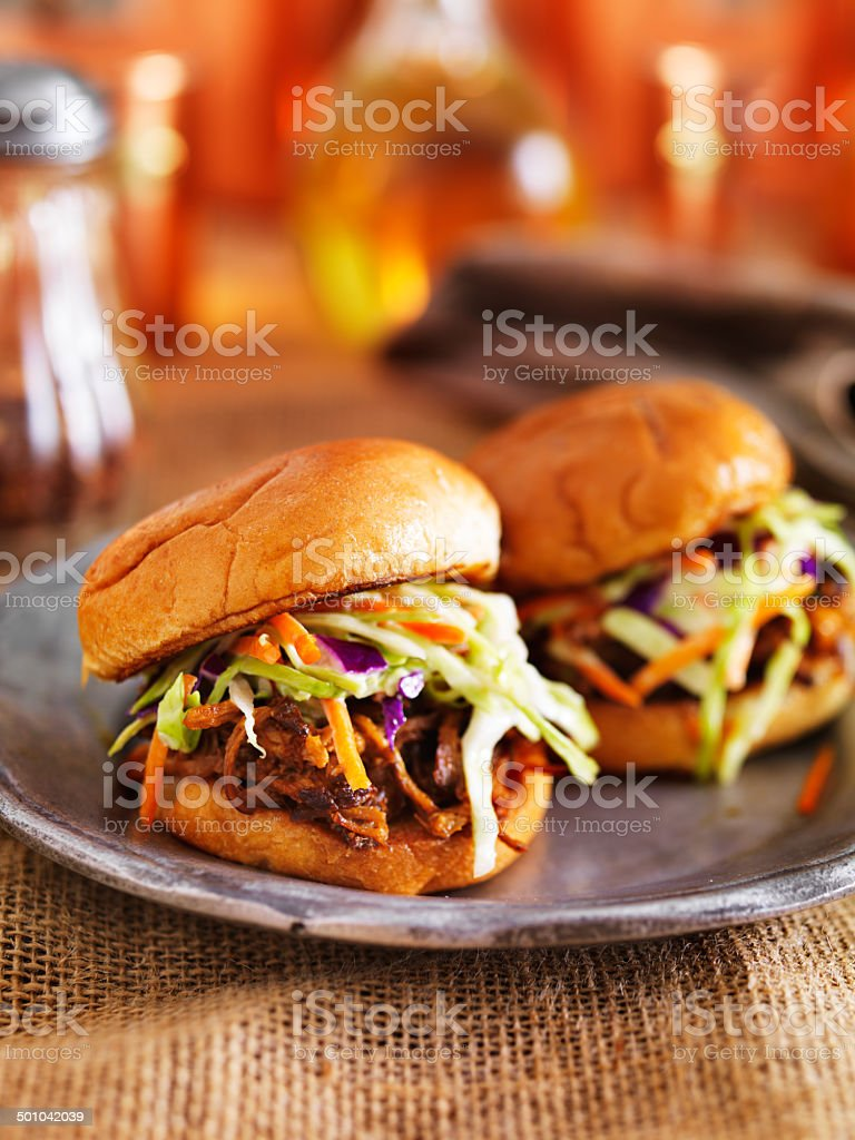 two barbecue pulled pork slider sandwiches stock photo