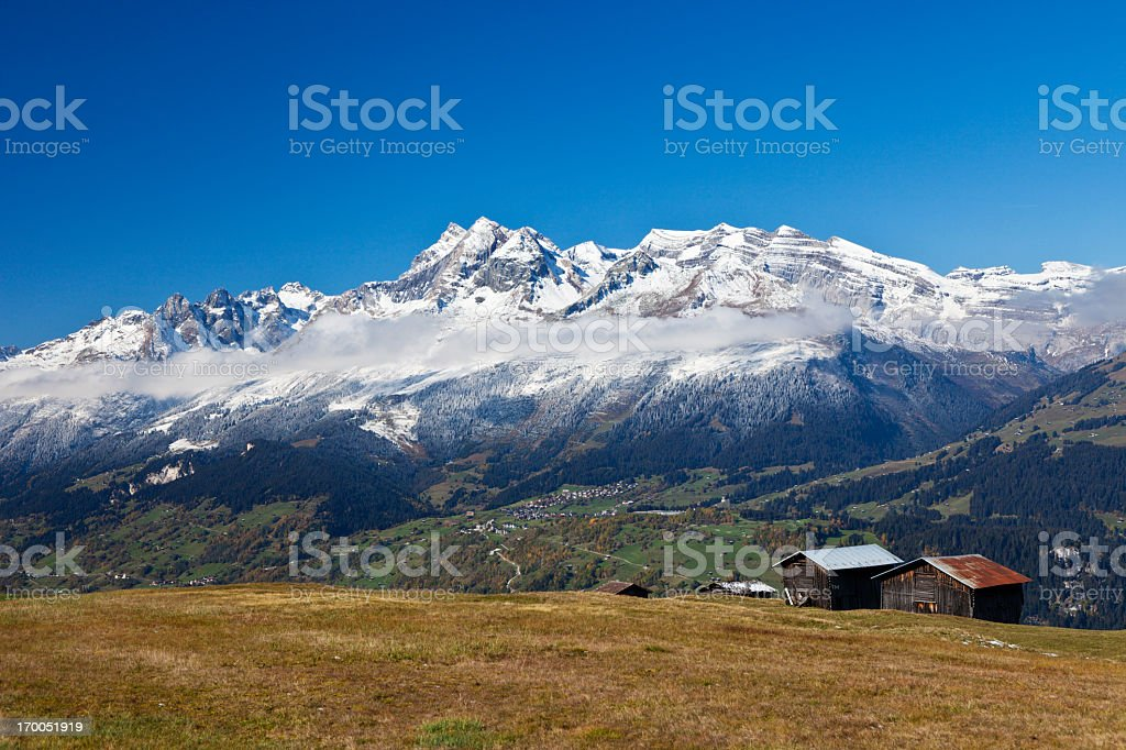 Two Barns in the Alps royalty-free stock photo