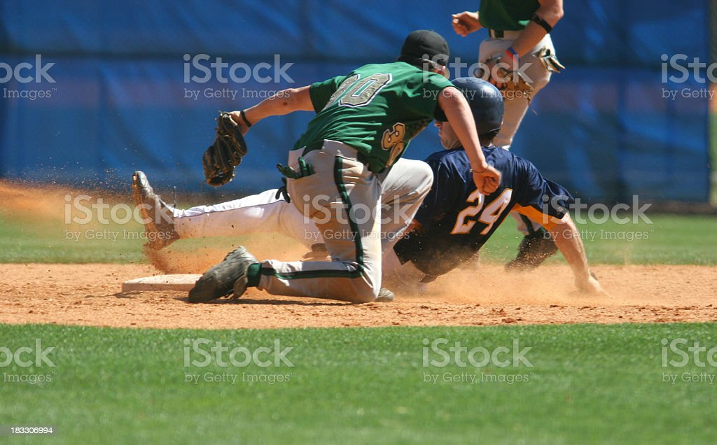 Two baseball players playing a game of baseball stock photo