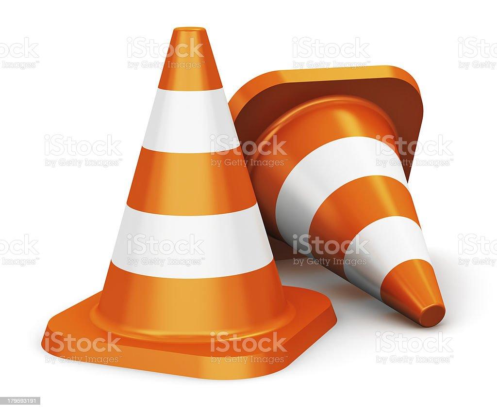 Two basic orange traffic cones stock photo