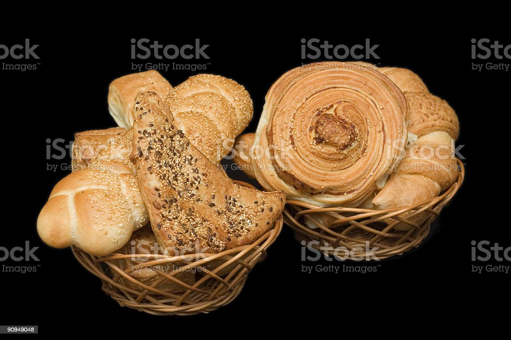 Two baskets with pastry royalty-free stock photo