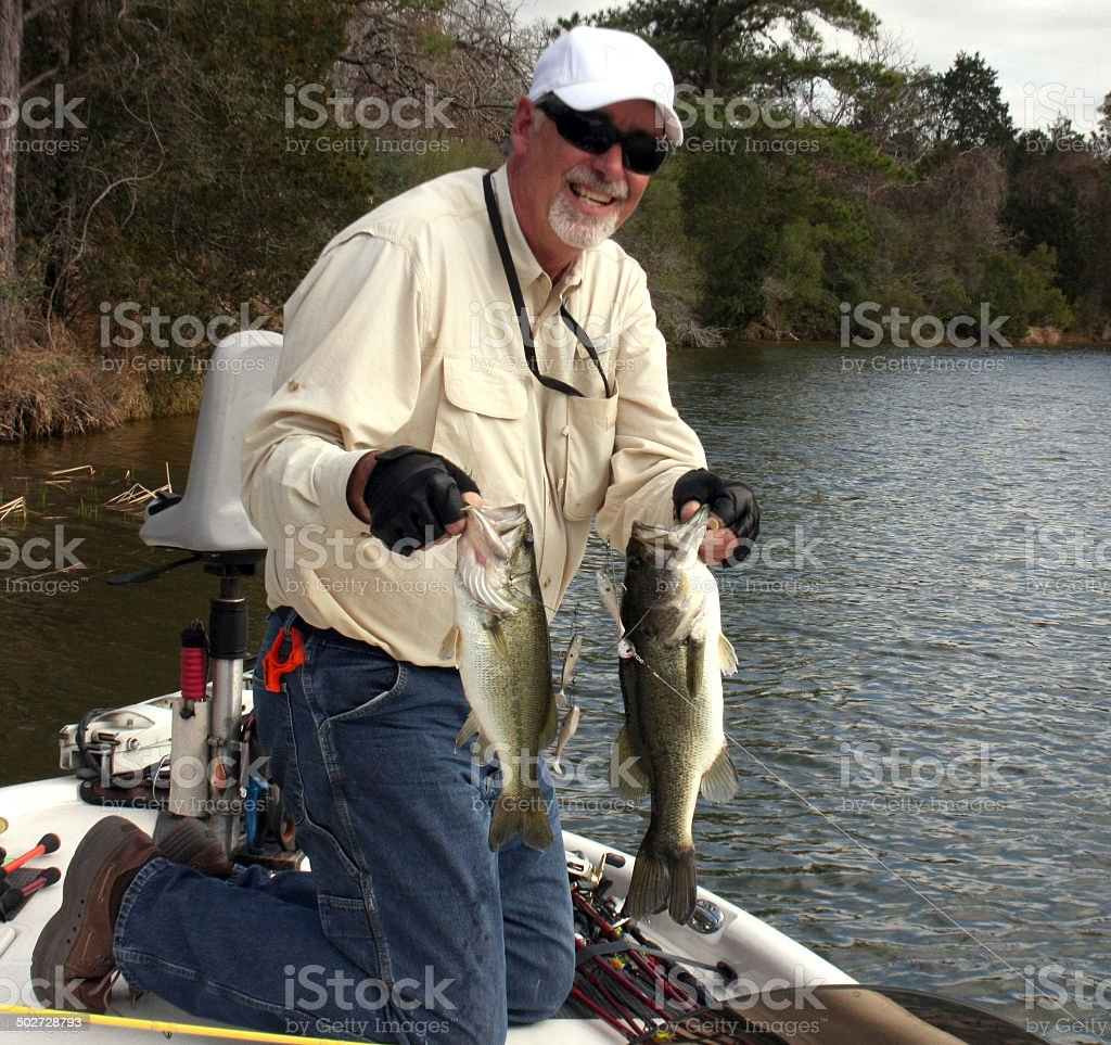 Two Bass in One Catch stock photo