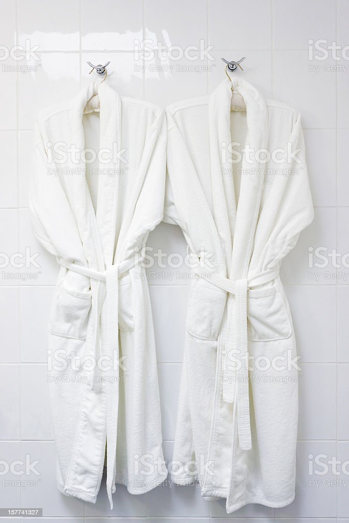 Two bath robes stock photo