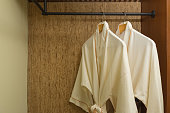 two bathrobes hanging in warmly design closet