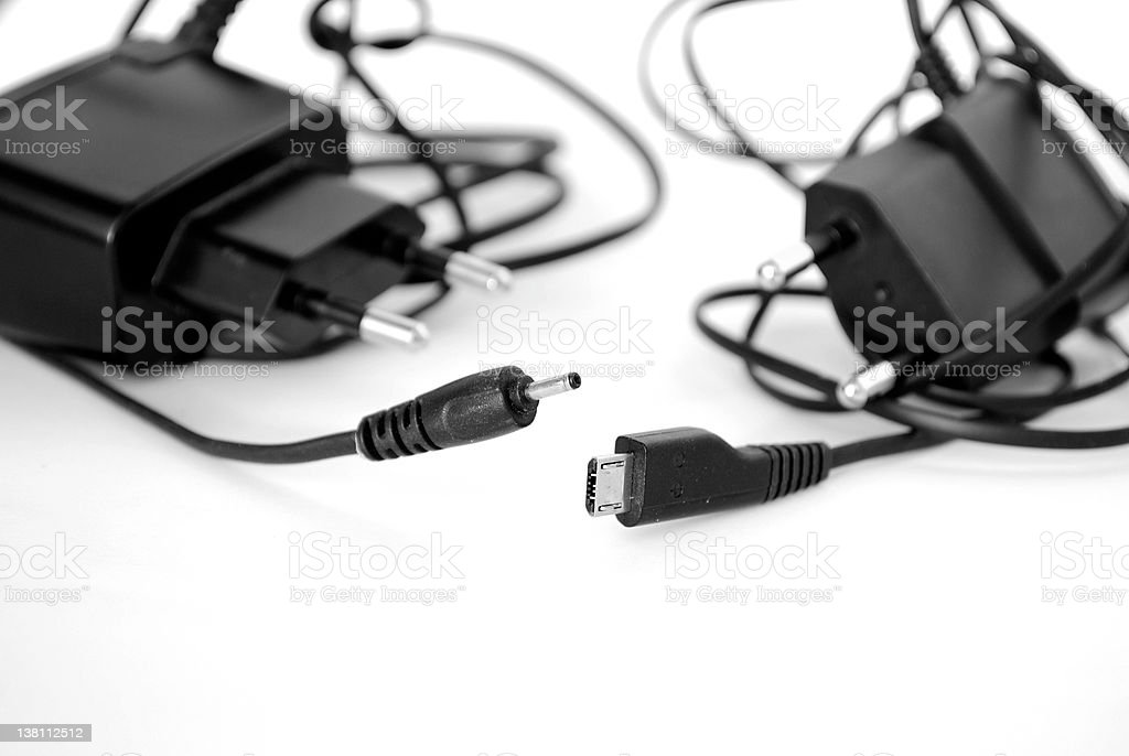 Two battery chargers stock photo