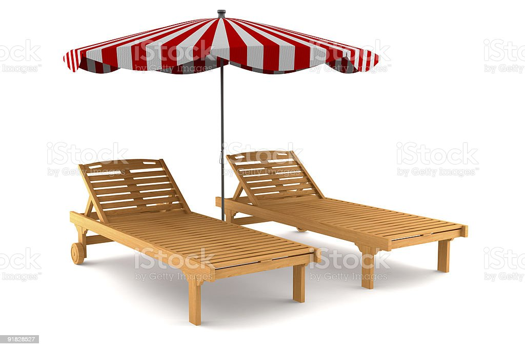 two beach chairs and umbrella isolated on white background royalty-free stock photo