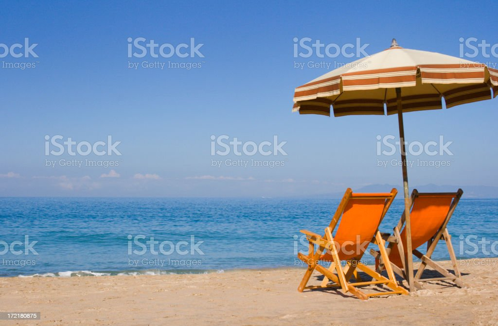 Two Beach Chairs Enjoy Mexico Summer Tropical Vacation Travel View royalty-free stock photo
