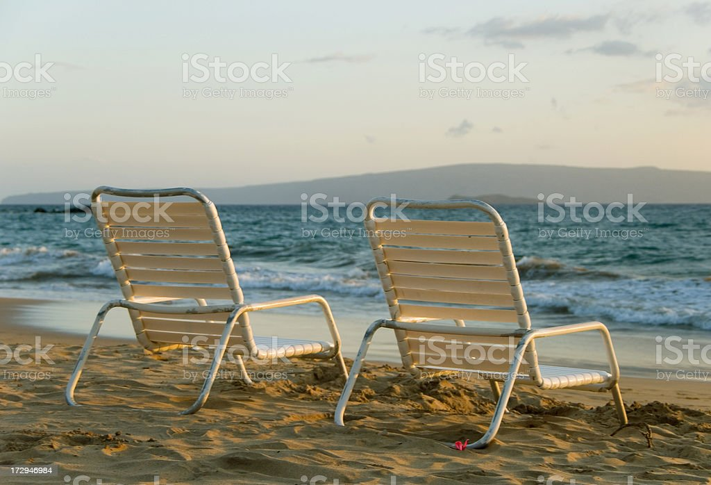 Two beach chairs royalty-free stock photo