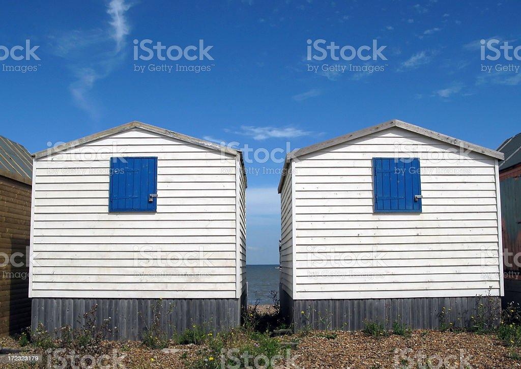 Two beach huts stock photo