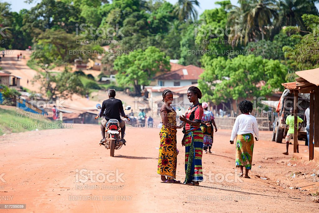 Two beautiful african women on the street stock photo
