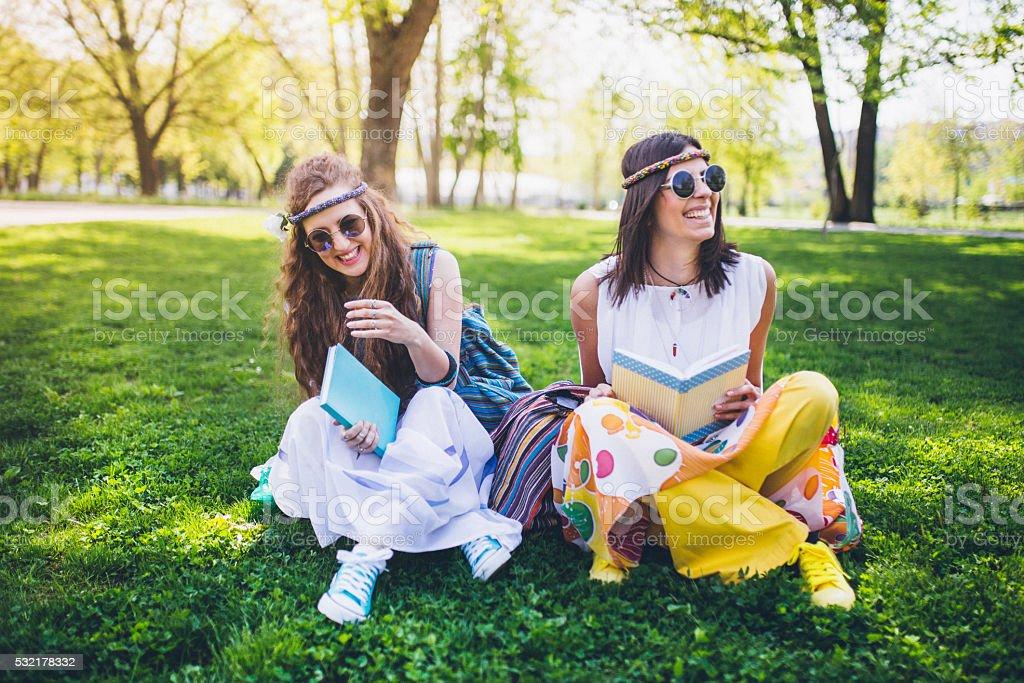 Two beautiful boho girls stock photo