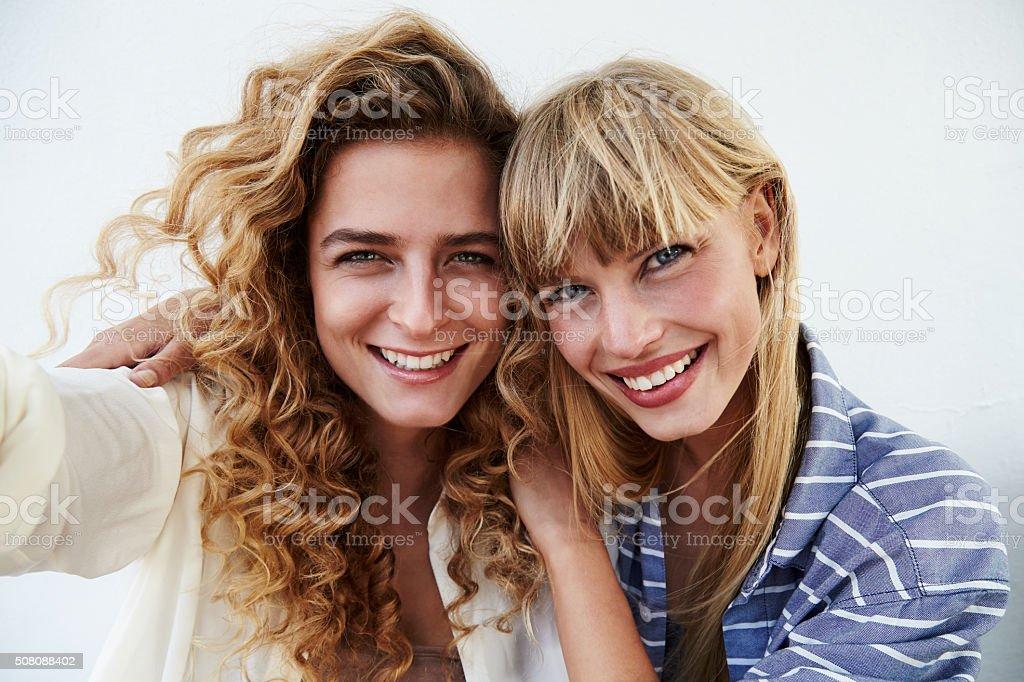 Two beautiful friends stock photo