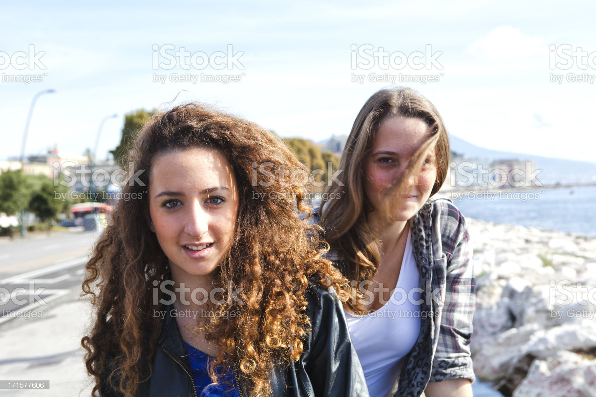Two Beautiful Girls on Naples Promenade, Italy royalty-free stock photo