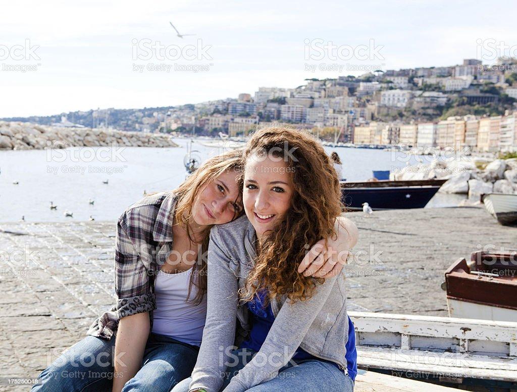 Two Beautiful Girls on Naples Promenade, Italy royalty-free stock photo