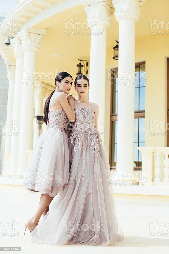 Two beautiful girls wearing dresses stock photo