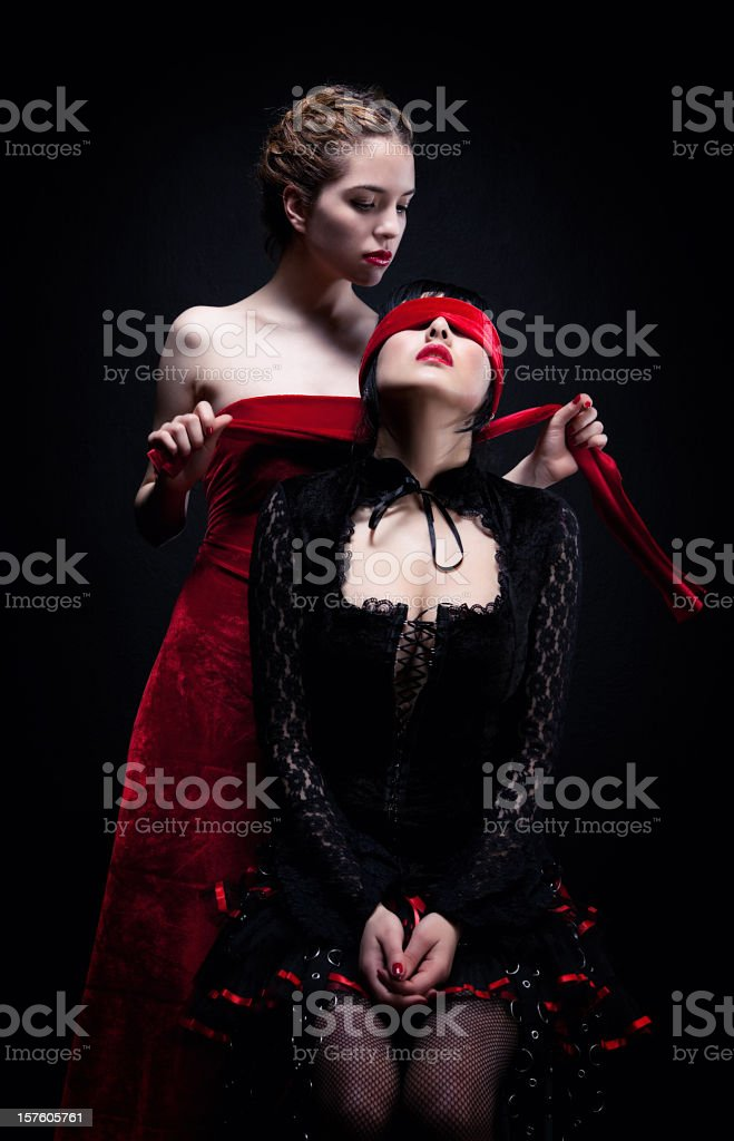 Two beautiful gothic women stock photo