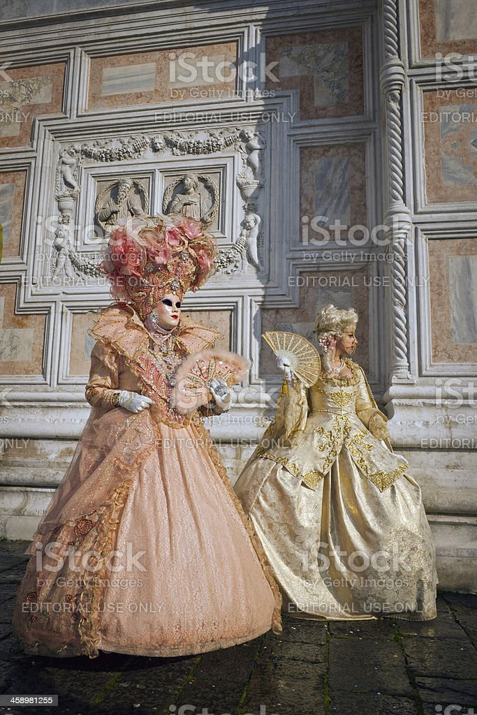 Two Beautiful Masks in Venice 2013 Carnival Italy royalty-free stock photo