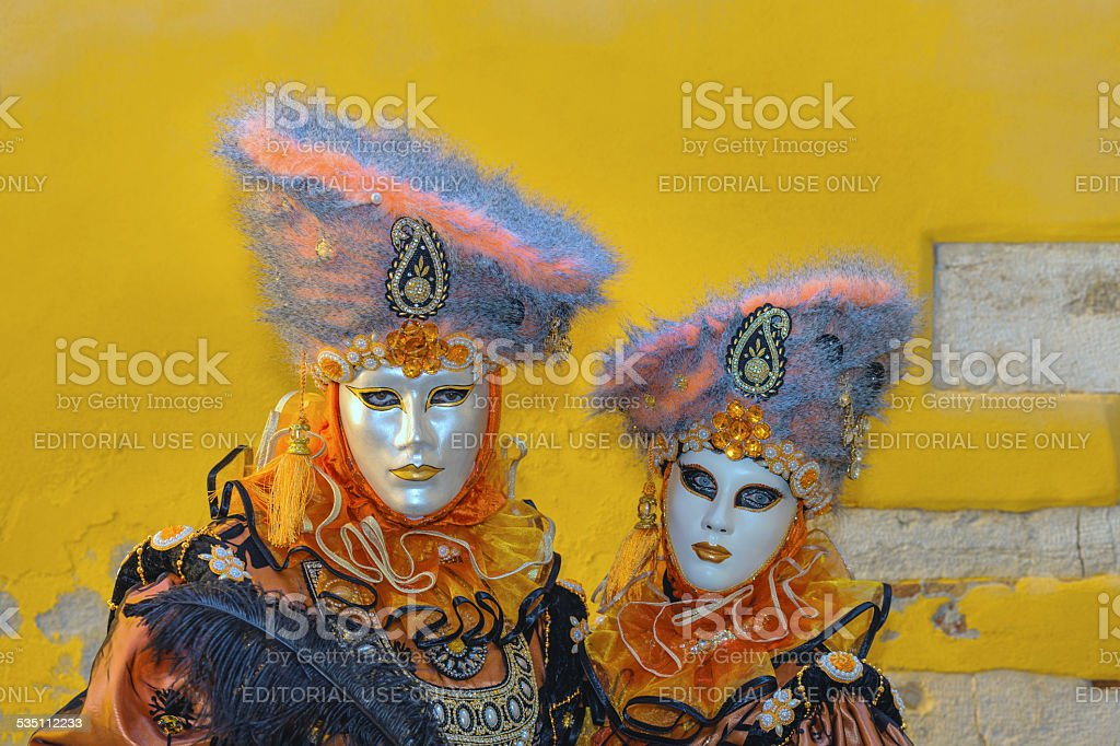 Two Beautiful Masks, Venice Carnival at Arsenale, Italy, Europe stock photo