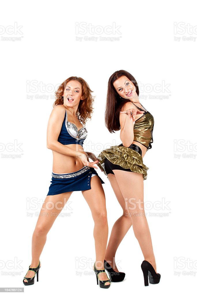 Two beautiful naughty go-go dancers royalty-free stock photo