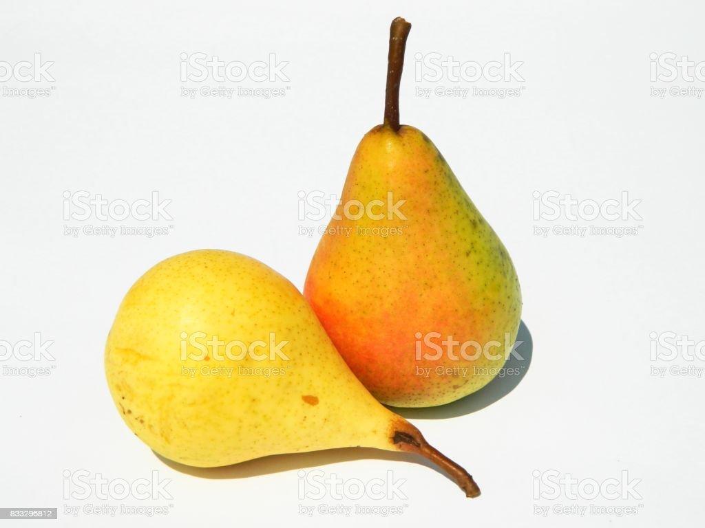 Two beautiful organic pears stock photo