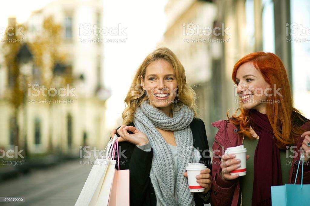 Two beautiful smiling woman shopping. stock photo