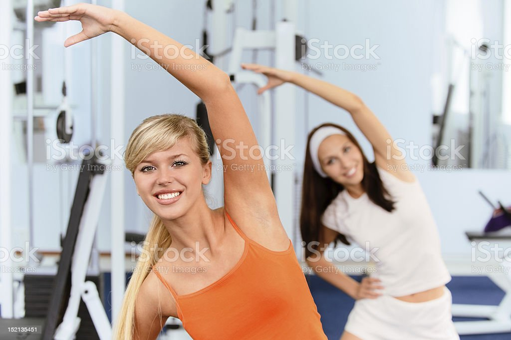 Two beautiful sportswomen royalty-free stock photo