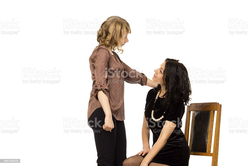Two beautiful women chatting together royalty-free stock photo