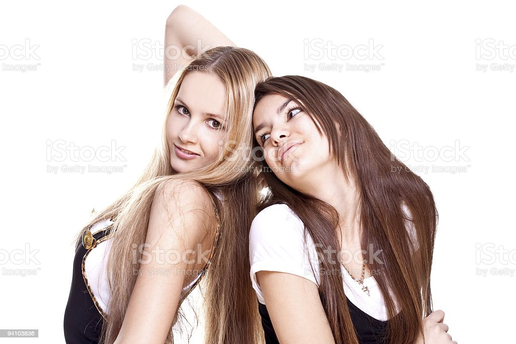 two beautiful women in a suit royalty-free stock photo
