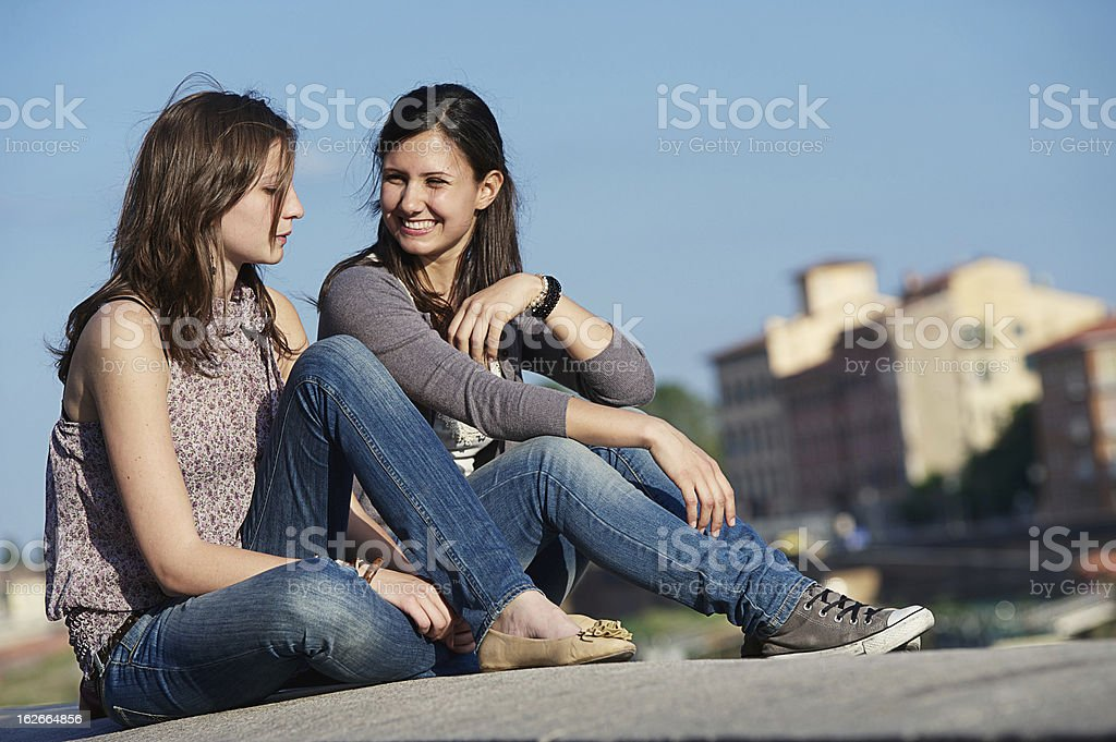 Two Beautiful Women in the City royalty-free stock photo