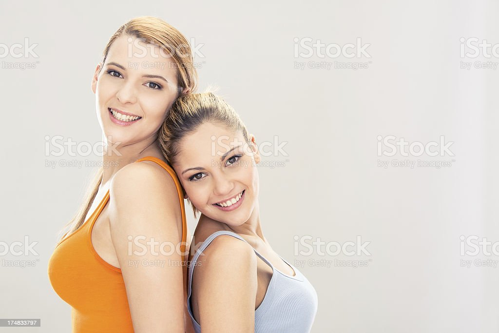 two beautiful young friends portrait royalty-free stock photo