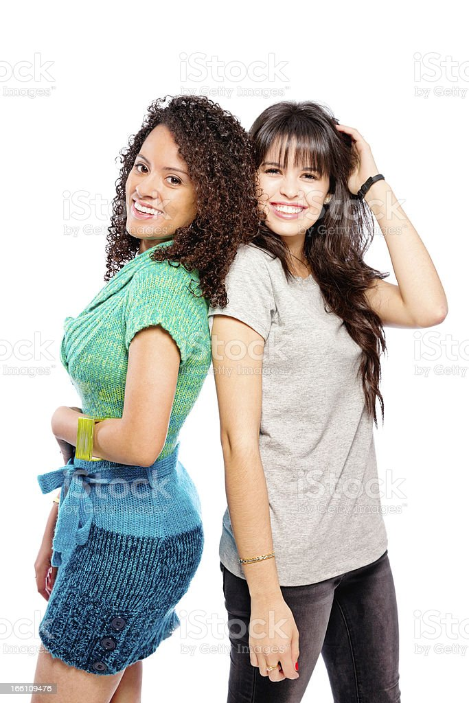 Two Beautiful Young Hispanic Women Fun Portrait Isolated royalty-free stock photo