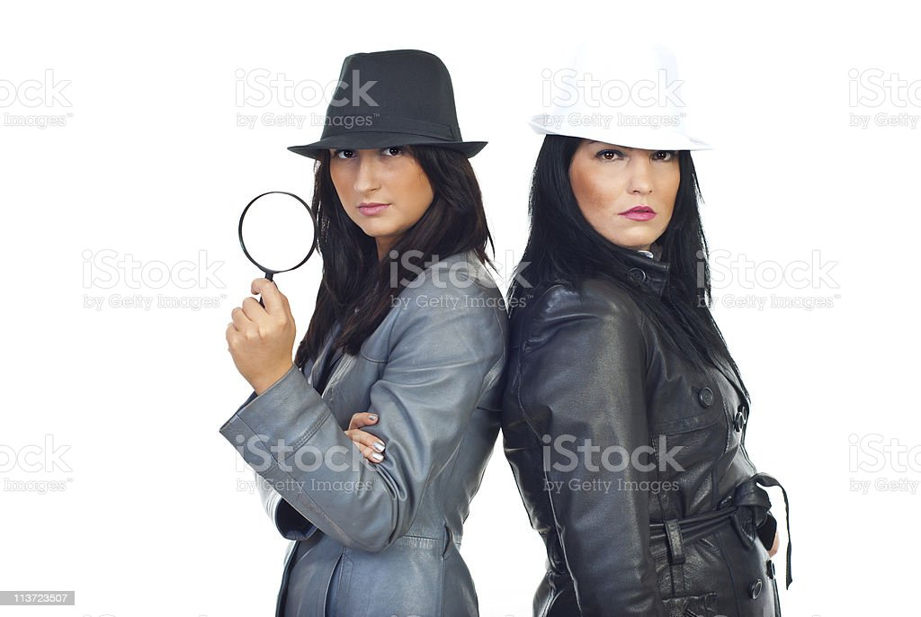 Two beauty detectives women stock photo