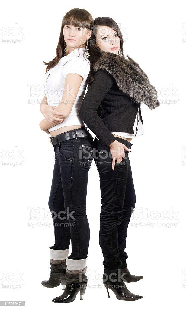 Two beauty young women stock photo