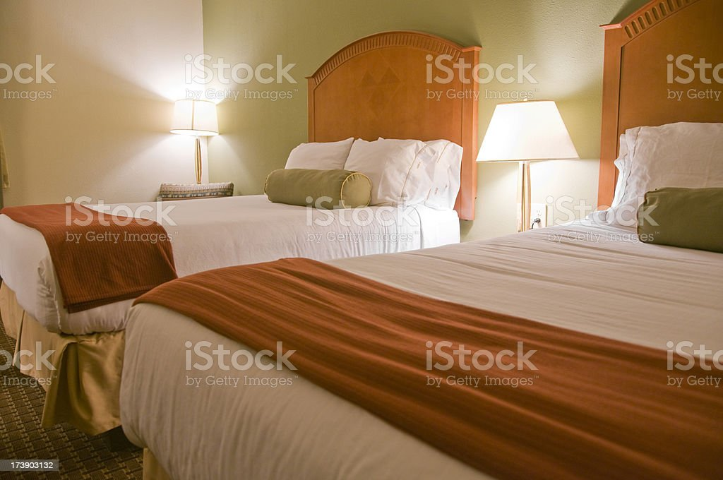Two Bed Motel Room royalty-free stock photo