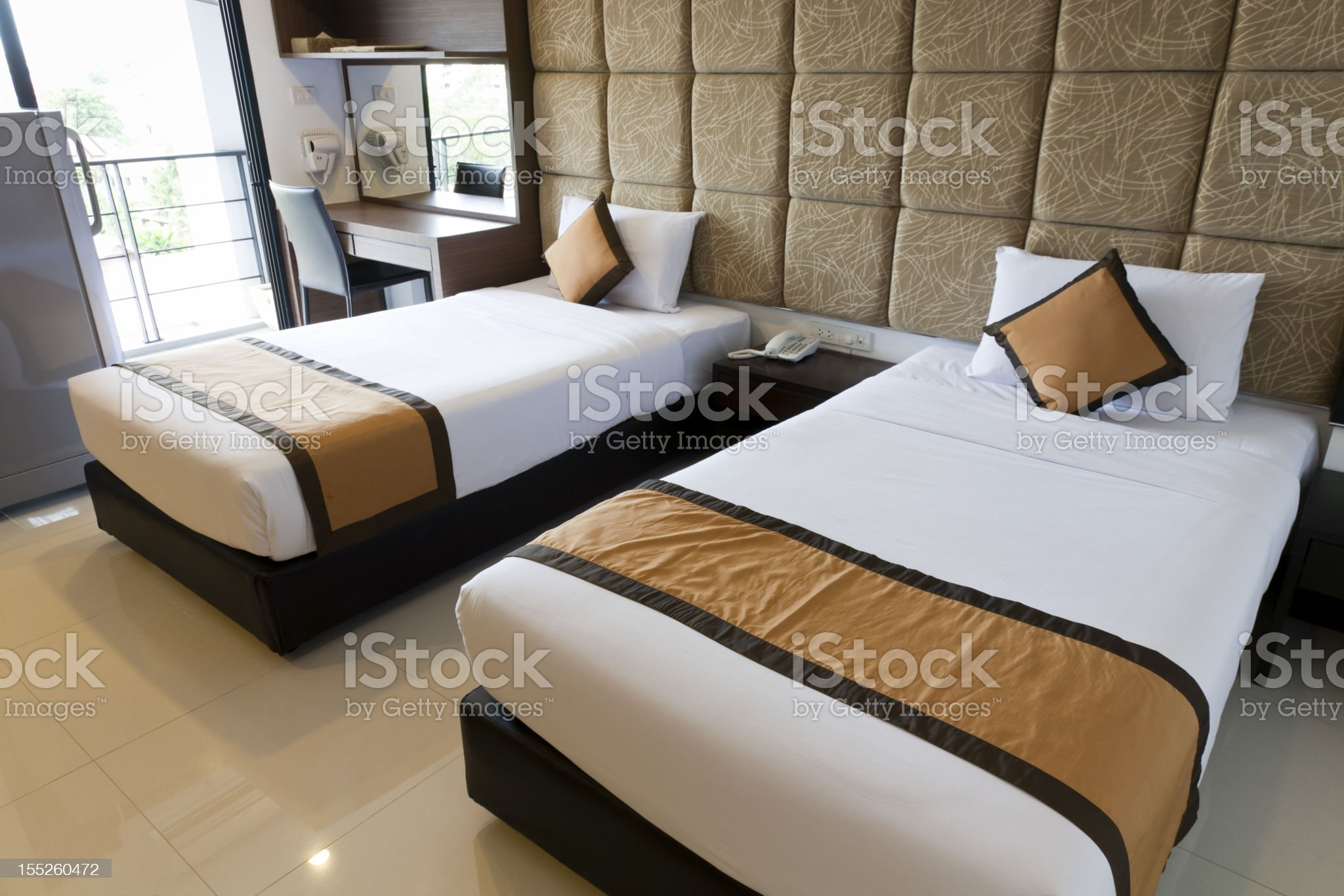 two beds hotel room royalty-free stock photo