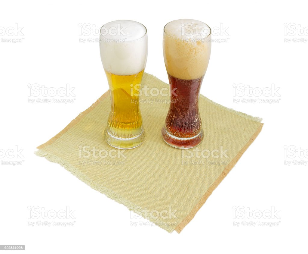 Two beer glass with lager beer and dark beer stock photo